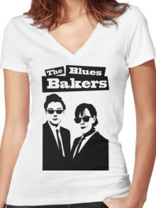 The Blues Bakers Women's Fitted V-Neck T-Shirt