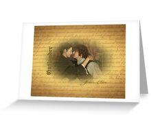 Jamie & Claire on on old paper with script.  Greeting Card