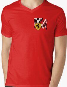 FERRARI AND FLAG Mens V-Neck T-Shirt