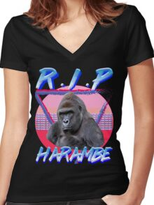 Harambe Vintage T-Shirt Women's Fitted V-Neck T-Shirt