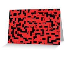 Line Art - The Bricks, tetris style, red and black Greeting Card