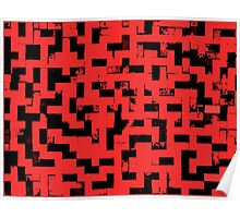 Line Art - The Bricks, tetris style, red and black Poster