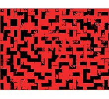 Line Art - The Bricks, tetris style, red and black Photographic Print