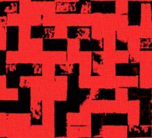 Line Art - The Bricks, tetris style, red and black Sticker