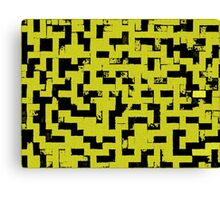 Line Art - The Bricks, tetris style, yellow and black Canvas Print