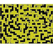 Line Art - The Bricks, tetris style, yellow and black Photographic Print