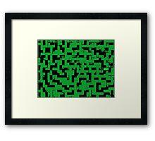 Line Art - The Bricks, tetris style, green and black Framed Print
