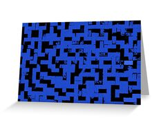 Line Art - The Bricks, tetris style, dark blue and black Greeting Card