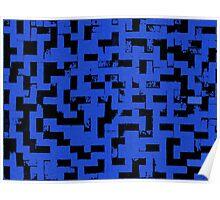 Line Art - The Bricks, tetris style, dark blue and black Poster