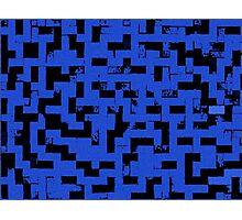 Line Art - The Bricks, tetris style, dark blue and black Photographic Print