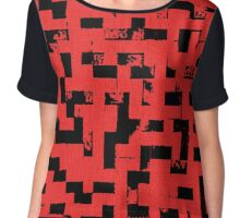 Line Art - The Bricks, tetris style, red and black Chiffon Top