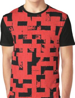 Line Art - The Bricks, tetris style, red and black Graphic T-Shirt