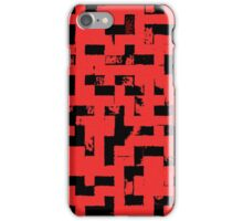 Line Art - The Bricks, tetris style, red and black iPhone Case/Skin
