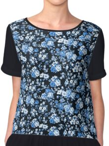 blue and floral  Chiffon Top