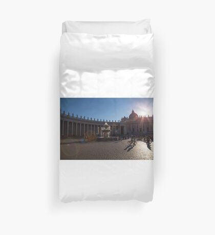 Saint Peter's Forecourt and the Mushroom Fountain, Rome Duvet Cover