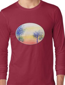 Sunset with Blue Trees Long Sleeve T-Shirt