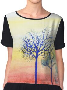 Sunset with Blue Trees Chiffon Top