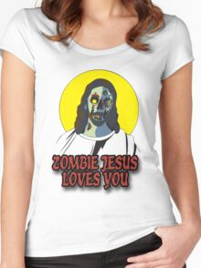 Zombie Jesus Loves You Women's Fitted Scoop T-Shirt