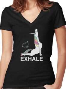 unicorn exhale Women's Fitted V-Neck T-Shirt