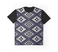 Navajo Vintage Blue Crazy Quilt Graphic T-Shirt