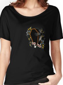 Skeleton Coffin Flower Traditional Tattoo Design Women's Relaxed Fit T-Shirt