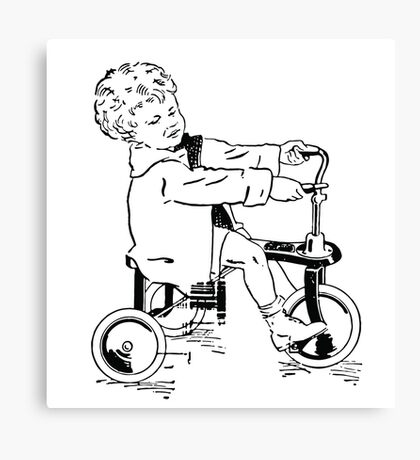 Vintage 30s Tricycle Boy Canvas Print