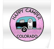 CAMPING HAPPY CAMPER COLORADO VOLKSWAGEN BUS CAMPFIRE PEACE HIPPIE Poster