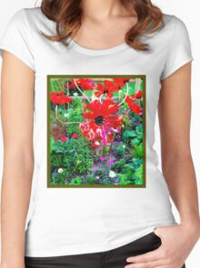 FLOWER GARDEN; With Plastic Psychedelic Flowers Women's Fitted Scoop T-Shirt