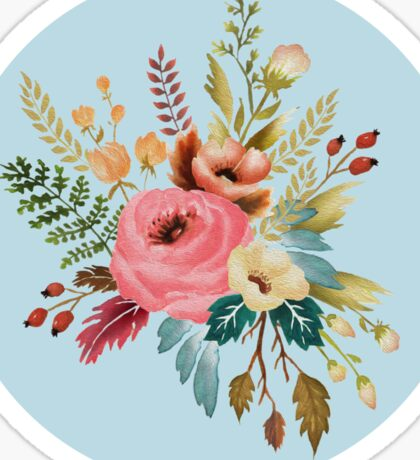 Watercolor Roses Floral Wildflowers on Sky Blue Sticker