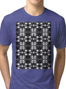 white bleeding heart macro, black and white pattern Tri-blend T-Shirt