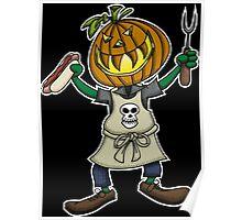 Pumpkin Head Grilling Poster