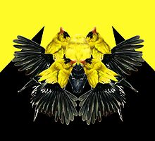 Birds black and yellow by Leyre Valiente