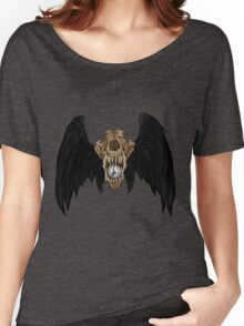 Wolf Skull Black Wings Women's Relaxed Fit T-Shirt