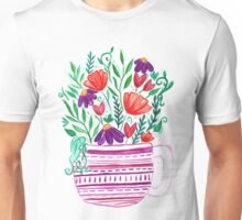 Cup of Whimsy Tea - Watercolour illustration bright flowers in pink tea cup Unisex T-Shirt