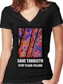 SAVE TARKEETH STOP CLEAR-FELLING Women's Fitted V-Neck T-Shirt
