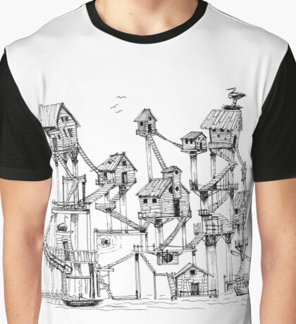 Houses at stilts at the water. Maze- like illustration. Graphic T-Shirt