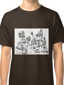 Houses at stilts at the water. Maze- like illustration. Classic T-Shirt