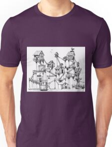 Houses at stilts at the water. Maze- like illustration. Unisex T-Shirt