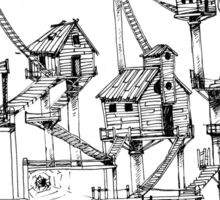 Houses at stilts at the water. Maze- like illustration. Sticker