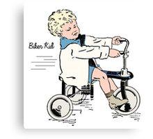 """Vintage 30s Tricycle Boy """"colour"""" Canvas Print"""
