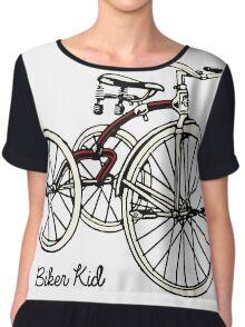 "Vintage 30s red Tricycle ""biker kid"" Chiffon Top"