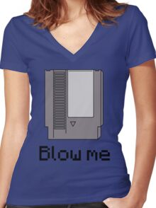 NES cartridge- blow me Women's Fitted V-Neck T-Shirt