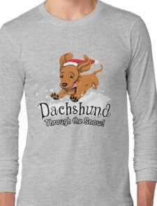 Dachshund Through The Snow - Ugly Sweater - Christmas Gift Long Sleeve T-Shirt