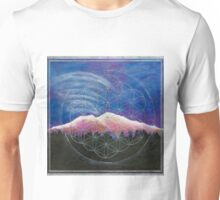 Alpine Glow Mount Shasta w/ crystal flower of life Unisex T-Shirt