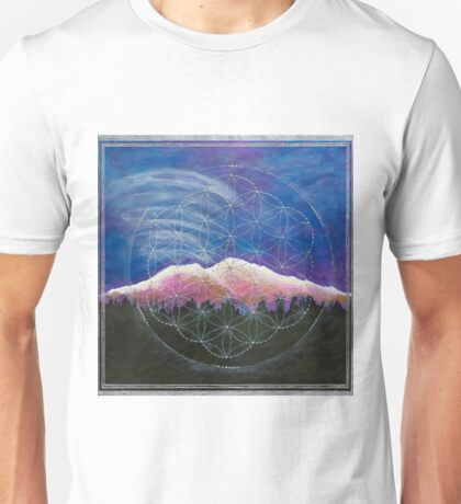Alpine Glow Mount Shasta w/ crystal flower of life Unisex T-Shirt