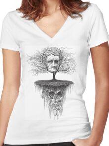 Edgar Allen Poe, Poetree Women's Fitted V-Neck T-Shirt