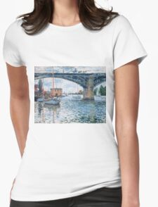 Claude Monet - The Bridge At Argenteuil Grey Weather Womens Fitted T-Shirt