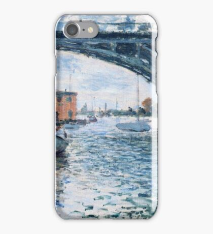 Claude Monet - The Bridge At Argenteuil Grey Weather iPhone Case/Skin