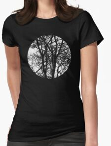 Vintage Silver Moon By The Forest Trees Womens Fitted T-Shirt