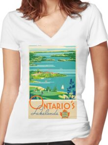 Ontario Vintage Travel Poster Women's Fitted V-Neck T-Shirt